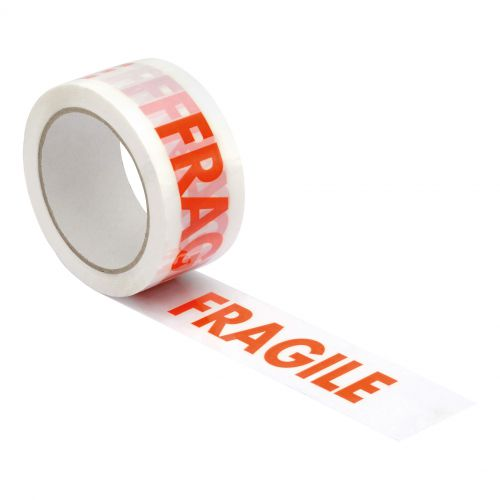 5 Star Office Printed Tape Fragile Polypropylene 48mmx66m Red Text on White Pack 6