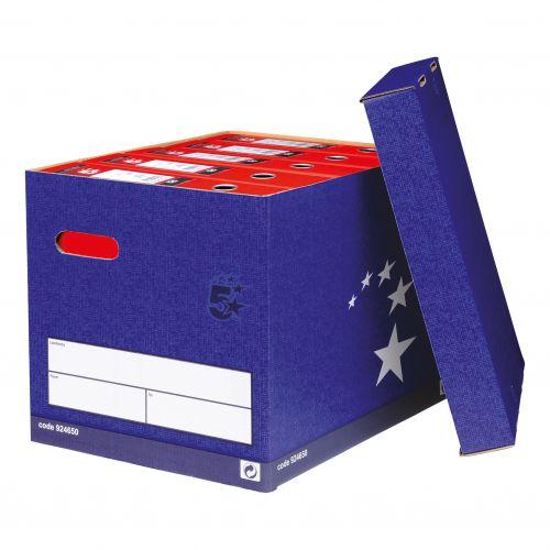 5 Star Elite Superstrong Archive Storage Box Foolscap Blue FSC [Pack 10]