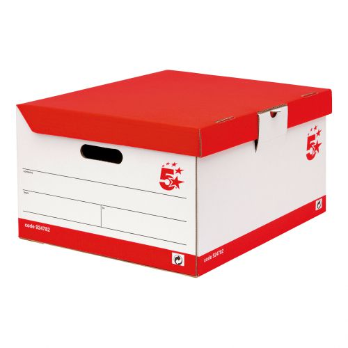 5 Star Office Storage Trunk Hinged Lid Red & White FSC [Pack 10]