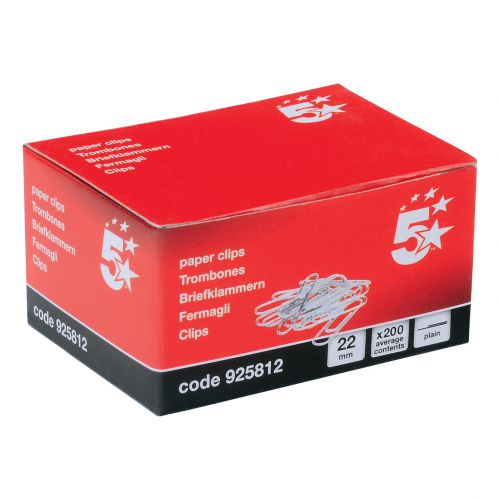 5 Star Office Paperclips Metal Small Length 22mm Plain [Pack 1000]