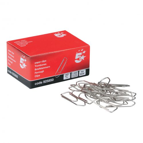 5 Star Office Paperclips No Tear Large Length 27mm [Pack 10x100]