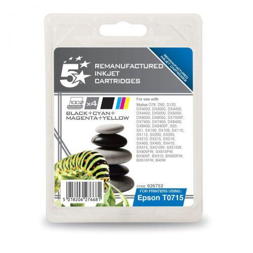 5StarOfficeRemanufactured IJ Cartridges 5.5ml Blk/Cyan/Magenta/Yellow[Epson T071540 Alternative] [Pack 4]