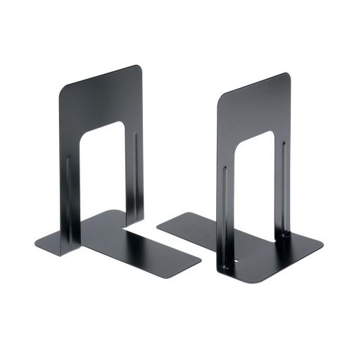 5 Star Office Bookends 180mm Metal Heavy Duty 7 Inch Black [Pack 2]
