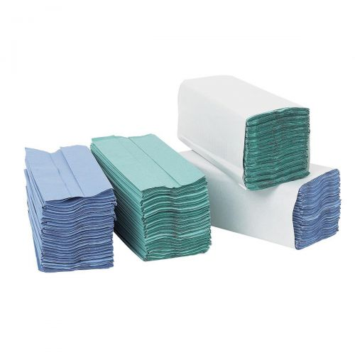 5 Star Facilities Hand Towel C-Fold One-ply Recycled 220x305mm 192 Towels Per Sleeve Blue [Pack 15]