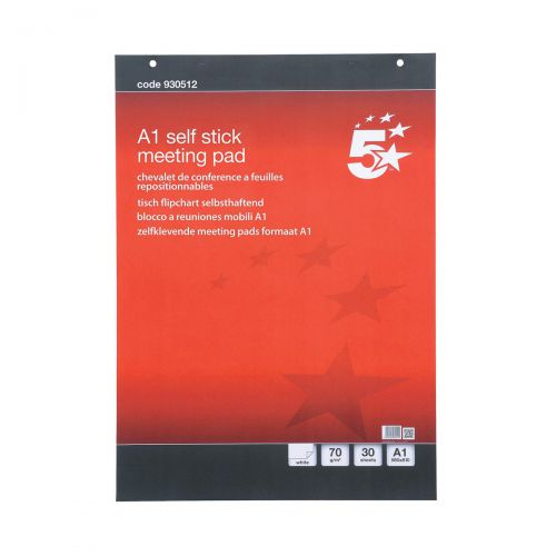 5 Star Office Flipchart Pad Self-adhesive 30 Sheets A1 [Pack 2]