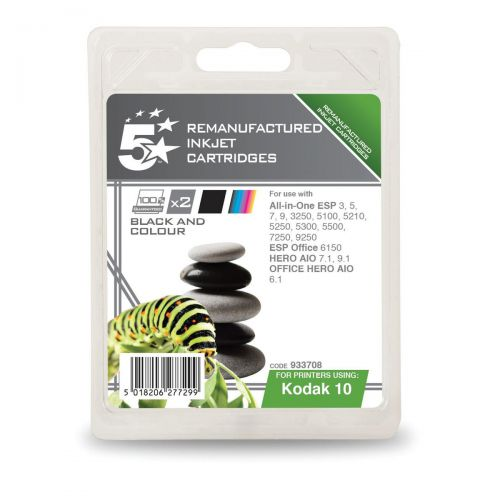 5 Star Office Reman Inkjet Cart Black425pp 14ml Tri-Colour420pp 12ml 10B/10C Alternative][Pack 2]