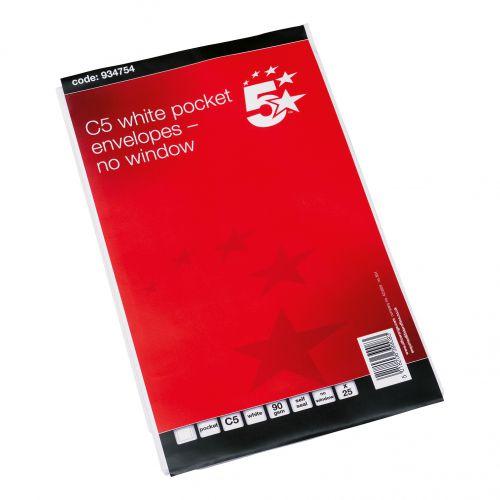 5 Star Office Envelopes C5 Pocket Self Seal 90gsm White Retail Pack [Pack 25]