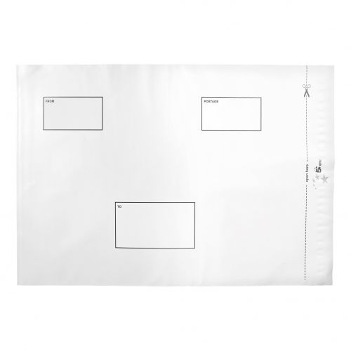 5 Star Elite Envelopes ExtraStrong Waterproof Polythene Peel & Seal Opaque 335x435mm&50mm Flap [Pack 100]
