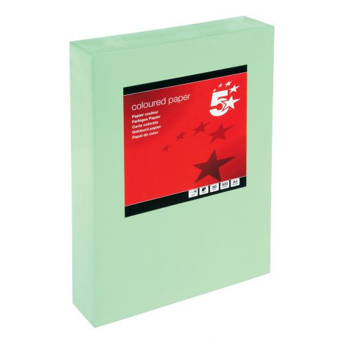 5 Star Office Coloured Copier Paper Multifunctional Ream-Wrapped 80gsm A4 Medium Green [500 Sheets]