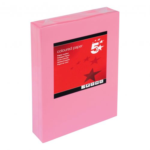 5 Star Office Coloured Copier Paper Multifunctional Ream-Wrapped 80gsm A4 Medium Pink [500 Sheets]