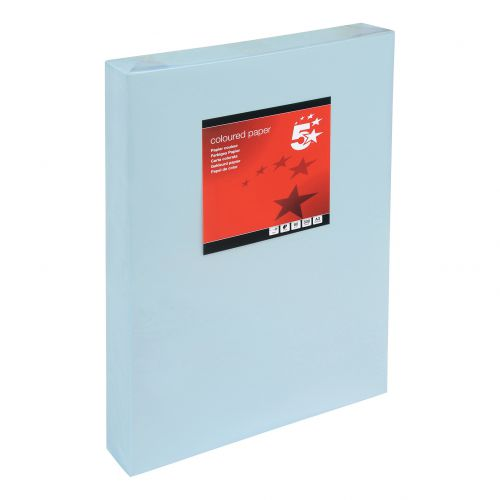 5 Star Office Coloured Copier Paper Multifunctional Ream-Wrapped 80gsm A3 Light Blue [500 Sheets]