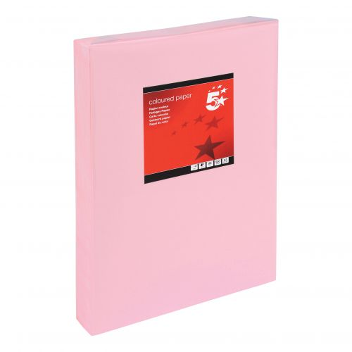 5 Star Office Coloured Copier Paper Multifunctional Ream-Wrapped 80gsm A3 Light Pink [500 Sheets]