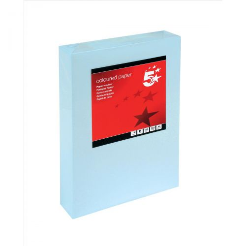 5 Star Office Coloured Card Multifunctional 160gsm A4 Light Blue [250 Sheets]