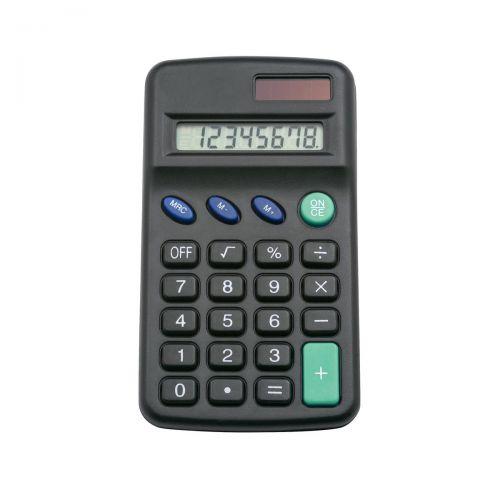 5 Star Office Pocket Calculator 8 Key Display Solar and Battery Power 63x17x113mm Black