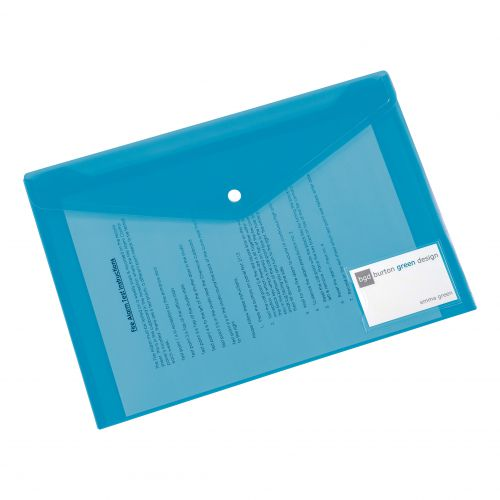 5 Star Office Envelope Stud Wallet with Card Holder Polypropylene A4 Assorted [Pack 5]