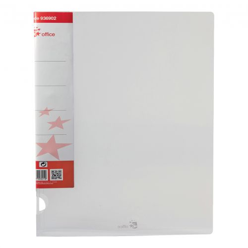 5 Star Office Ring Binder 2 O-Ring Translucent Polypropylene A4 Clear [Pack 10]