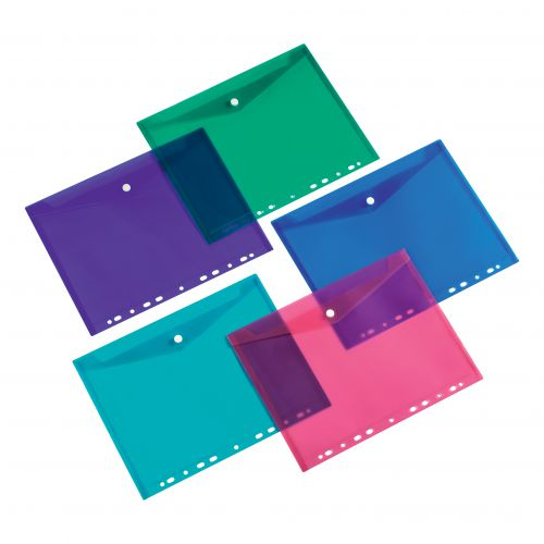 5 Star Office Ring Binder Punched Pocket A4 Assorted [Pack 5]