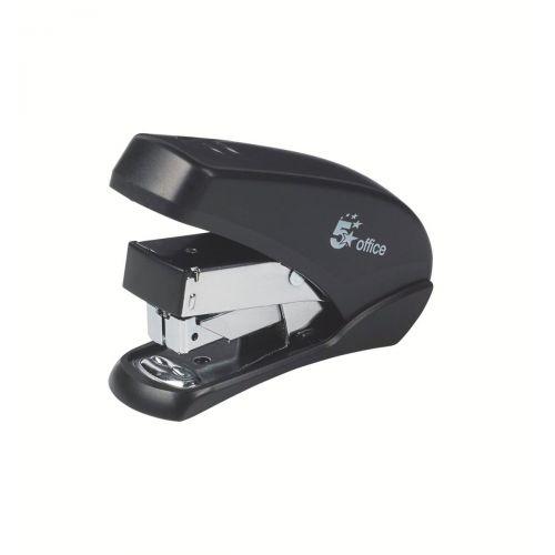 5 Star Office Power-Save Mini Half Strip Stapler 20 Sheet Capacity Takes 26/6 Staples Black