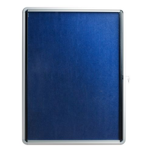 5 Star Office Noticeboard Glazed Lockable Aluminium Trim Blue Felt Board W900xH600mm