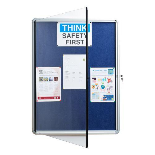 5 Star Office Noticeboard Glazed Lockable Aluminium Trim Blue Felt Board W900xH600mm