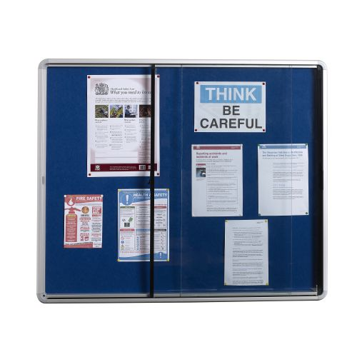 5 Star Office Noticeboard Glazed Lockable Aluminium Trim Blue Felt Board H1200xW900mm