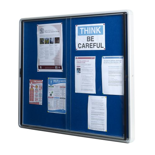 5 Star Office Noticeboard Glazed Lockable Aluminium Trim Blue Felt Board W1200xH900mm