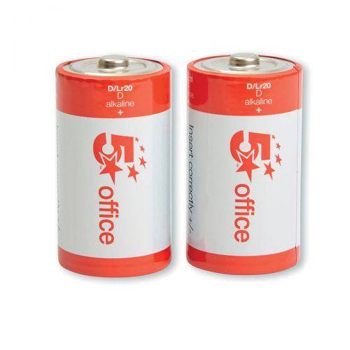 5 Star Office Batteries D/LR20 [Pack 2]