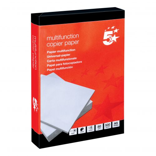 5 Star Office Copier Paper Multifunctional Ream-Wrapped 80gsm A5 Paper [500 Sheets]