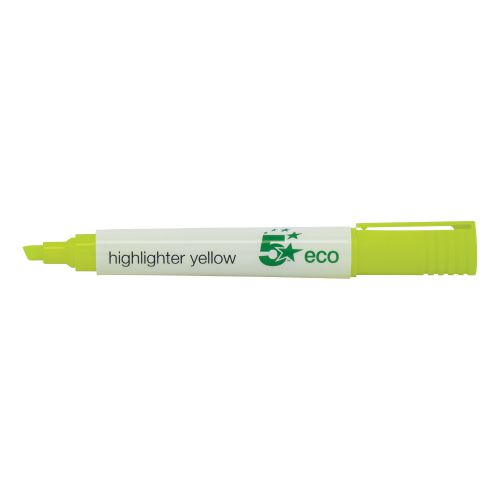 5 Star Eco Highlighter Chisel Tip 1-5mm Line Yellow [Pack 10]