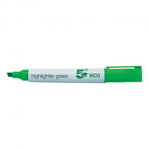 5 Star Eco Highlighter 1-5mm Line Green [Pack 10]