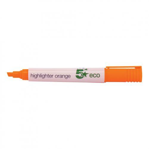 5 Star Eco Highlighter 1-5mm Line Orange [Pack 10]