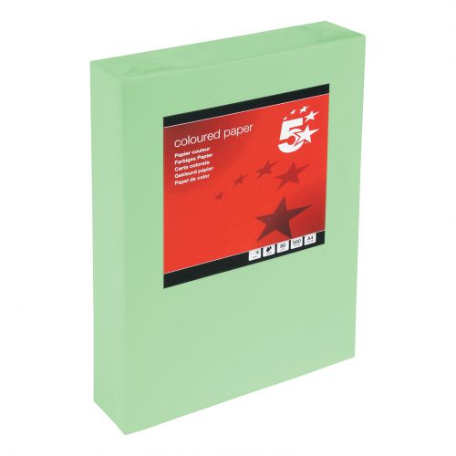 5 Star Office Coloured Copier Paper Multifunctional Ream-Wrapped 80gm A4 Bright Green [500 Sheets]