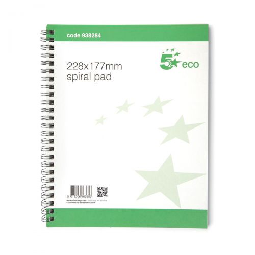 5 Star Eco Spiral Pad 70gsm Ruled and Perforated 100pp 221x175mm [Pack 10]