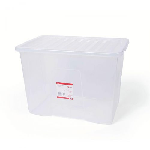 5 Star Office Storage Box Plastic with Lid Stackable 80 Litre Clear