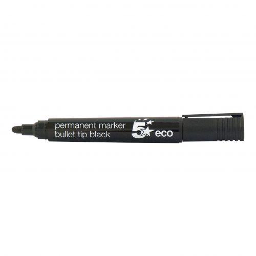 5 Star Eco Permanent Marker Bullet Tip 2-5mm Line Black [Pack 10]