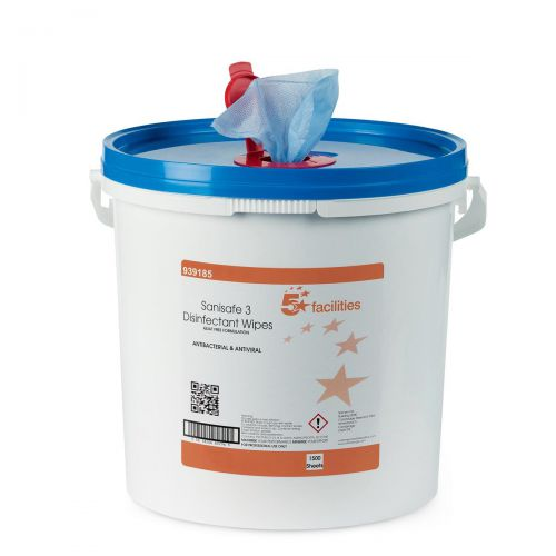 5 Star Facilities Disinfectant Wipes Anti-bacterial PHMB-free BPR Low-residue 19x20cm [Tub 1500 Sheets] SFTS19