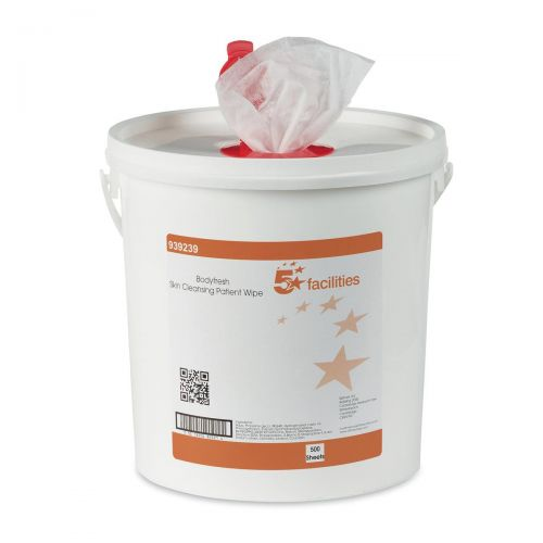 5 Star Facilities Bodyfresh Skin Cleansing Patient Wipe Fragranced 20gsm 20x20cm [Bucket 500 Sheets]