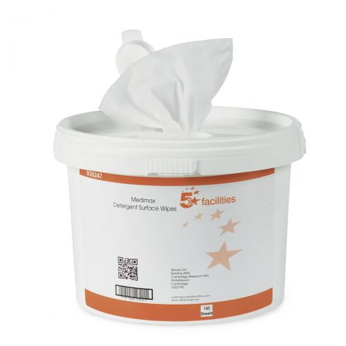 5 Star Facilities Medimax Detergent Surface Wipe No Alcohol Anti-bacterial 28gsm 28x28cm [Tub 150 Sheets]