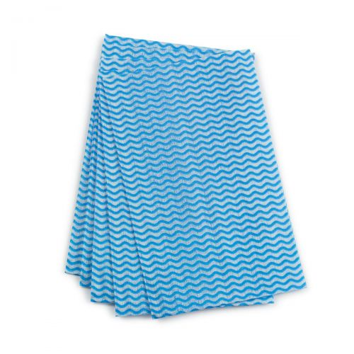 Image for 5 Star Facilities Cleaning Cloths Anti-microbial 40gsm W500xL300mm Wavy Line Blue [Pack 50]