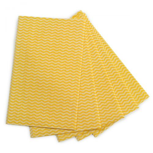 5 Star Facilities Cleaning Cloths Anti-microbial 40gsm W500xL300mm Wavy Line Yellow [Pack 50]
