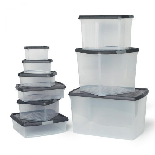 5 Star Elite Storage Clip Box Plastic Stackable with Lid 2.5 Litre Clear