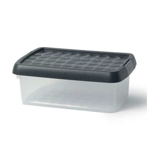 5 Star Elite Storage Clip Box Plastic Stackable with Lid 3.8 Litre Clear