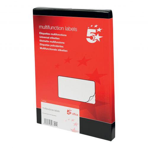 5 Star Office Multipurpose Labels Laser Copier Inkjet 10 per Sheet 99x57mm White [1000 Labels]