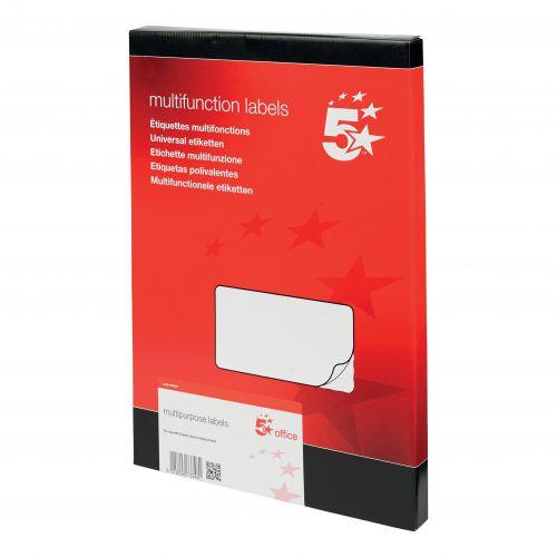 5 Star Office Multipurpose Labels Laser Copier Inkjet 6 per Sheet 99x93mm White [600 Labels]
