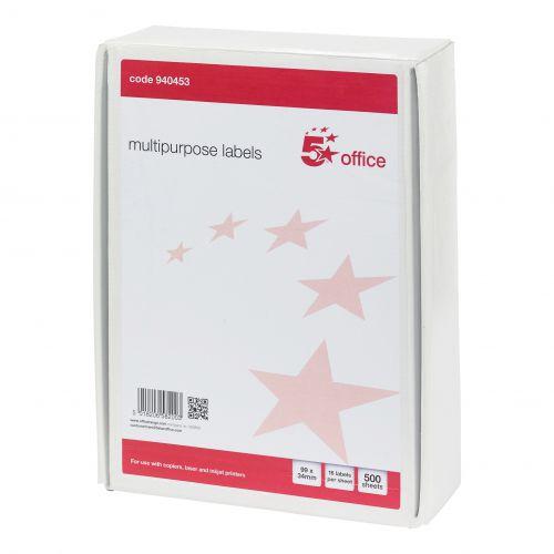 5 Star Office Multipurpose Labels Laser Copier Inkjet 16 per Sheet 99x34mm White [8000 Labels]