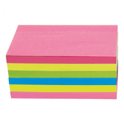 5 Star Office Extra Sticky Re-Move Notes Pad of 90 Sheets 76x127mm 4 Assorted Neon Colours [Pack 6]