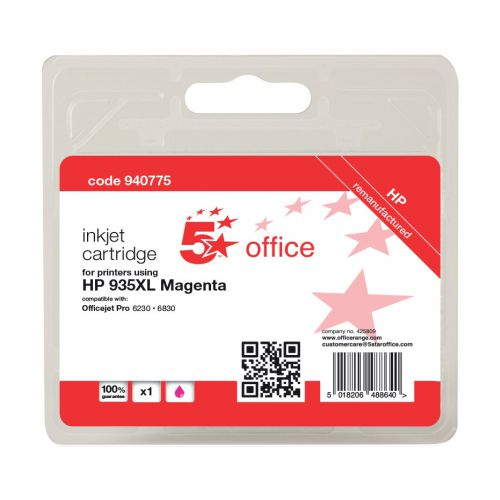 5 Star Office Remanufactured InkjetCart HY PageLife 825pp 9.5ml Magenta [HP No.935XL C2P25AE Alternative]