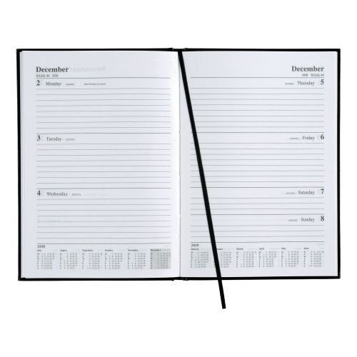 5 Star Office 2018/19 Academic Mid-year Diary Week to View Vinyl Coated Board A5 210x148mm Black