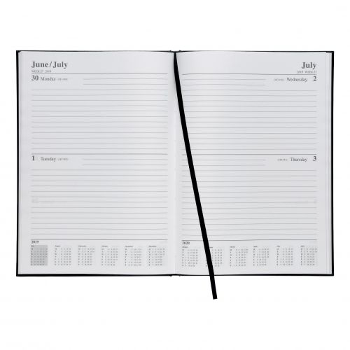 5 Star 2019 A4 2Day To Page Diary Black