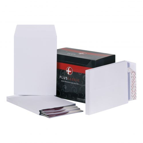 Plus Fabric Envelopes Peel and Seal Gusset 25mm 120gsm C4 White 324x229mm [Pack 100]